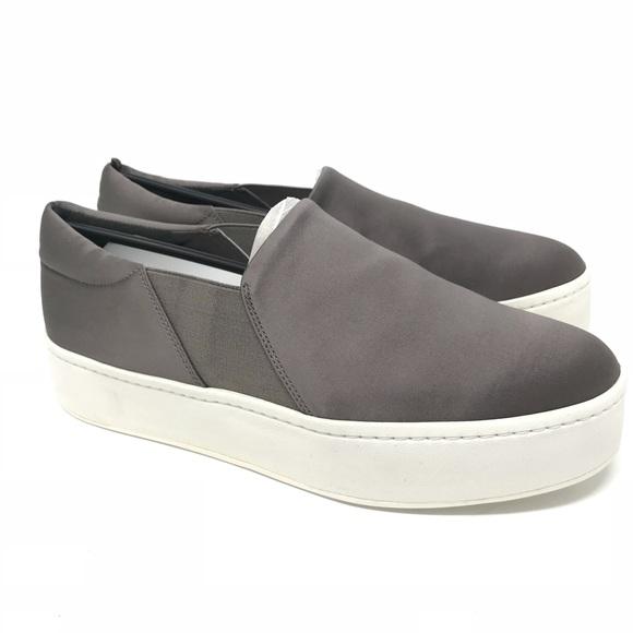 Vince. Woman Satin Platform Slip-on Sneakers Navy Size 37.5 Vince AWaTG93